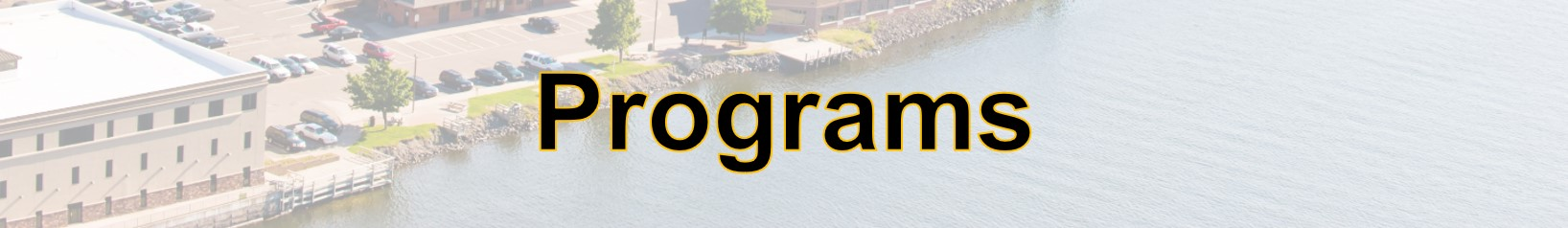 Program title with transparent image of building on a canal in the background